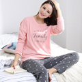 2017 Autumn Long-sleeve Cotton Women Home Clothing Couples Matching Pajamas Adult Casual Pajamas 2 Pc tops+pants Sets sleepwear