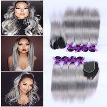 Top 7A Brazilian Virgin Grey Hair Weave With Closure Brazilian Straight Hair Ombre Brazilian Human Grey Hair Extension 1b/ Grey