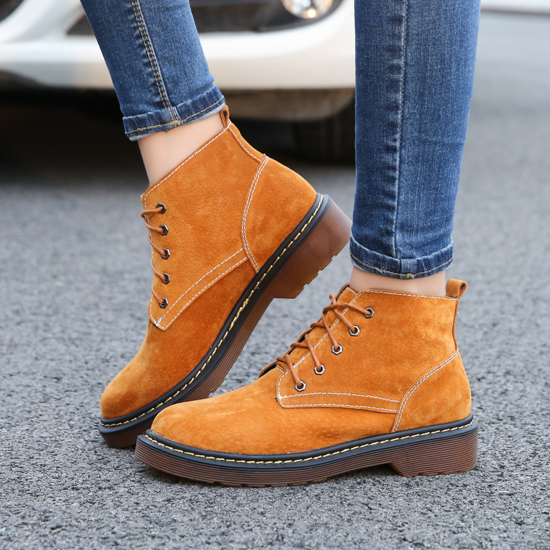 Genuine Leather Women Boots Plus Size Dr Martin boots Femme shoes Lace-Up Motorcycle Autumn Winter shoes woman Ankle Boots Basic new 2017 autumn winter women genuine leather boots unisex martin boots motorcycle retro shoes high quality plus size 35 44
