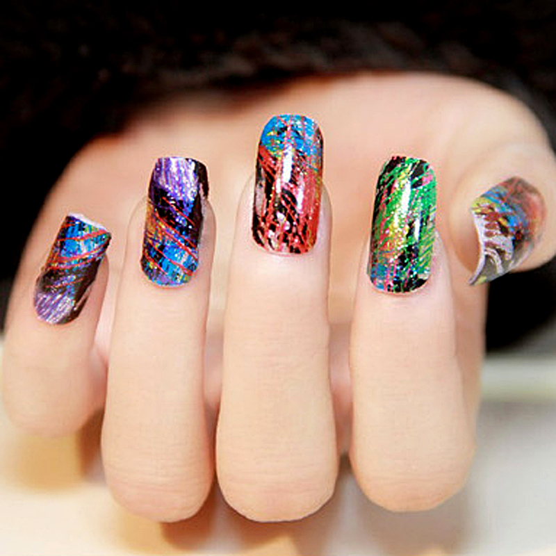 50 Sheets Multicolor Foil Galaxy Nail Art Tips Stickers Paper ...