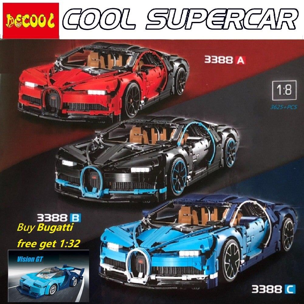 decool 3625 stücke 3388 rot/schwarz/blau bugatti chiron super auto