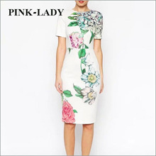 2015 Summer Womens Elegant Back Side Open Split Short Sleeve Knee Length Printed Bodycon Midi Dress White Floral Cheongsam Dress