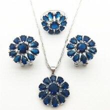 Montana Azul Sistemas de La Joyería de lujo Para Las Mujeres de Plata 925 Pendiente/Colgante/Collar/Anillo Envío gratis