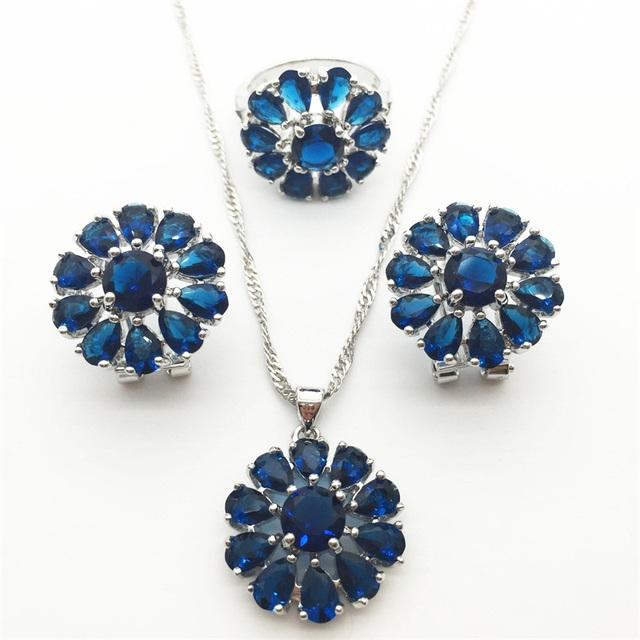 Montana Azul Conjuntos de Jóias de luxo Para As Mulheres 925 Brinco de Prata/Pendente/Pendente da Colar/Anel Frete grátis