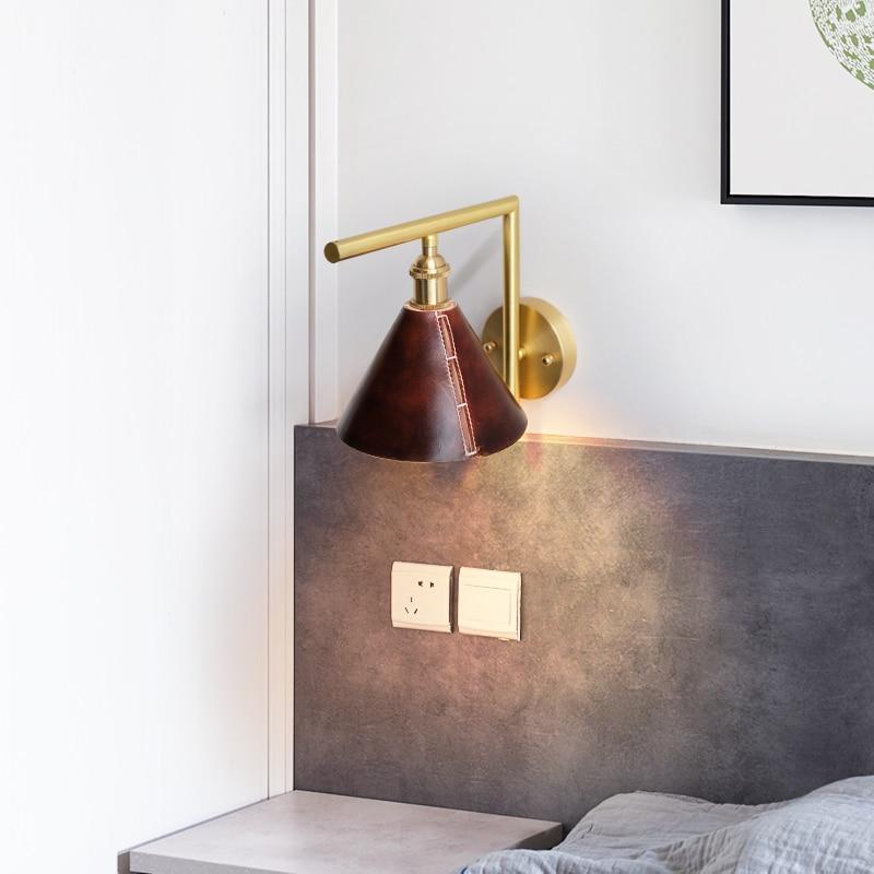 Zerouno Handmade Wall Sconces Modern Loft Decor Leather Wall Light E14 4W 220V Warm White Led Bulb Living Room Bedroom Wall Lamp