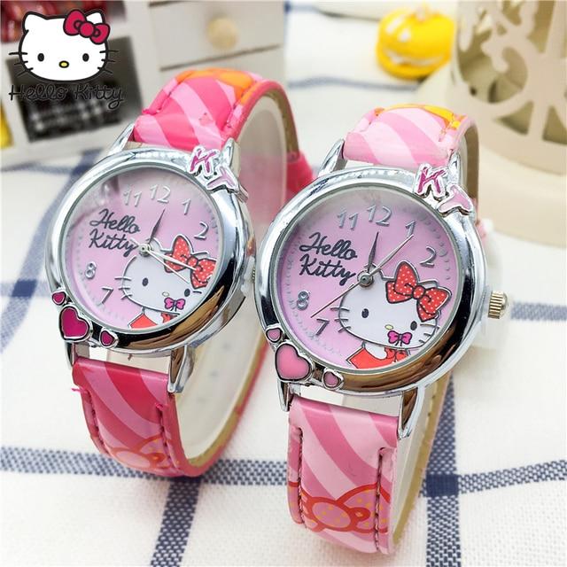 afcc6ddde Hello Kitty Cartoon Watches Kid Girls Straps Wristwatch Children hellokitty  Quartz Cute Clock Fashion Crystal Learning Machine