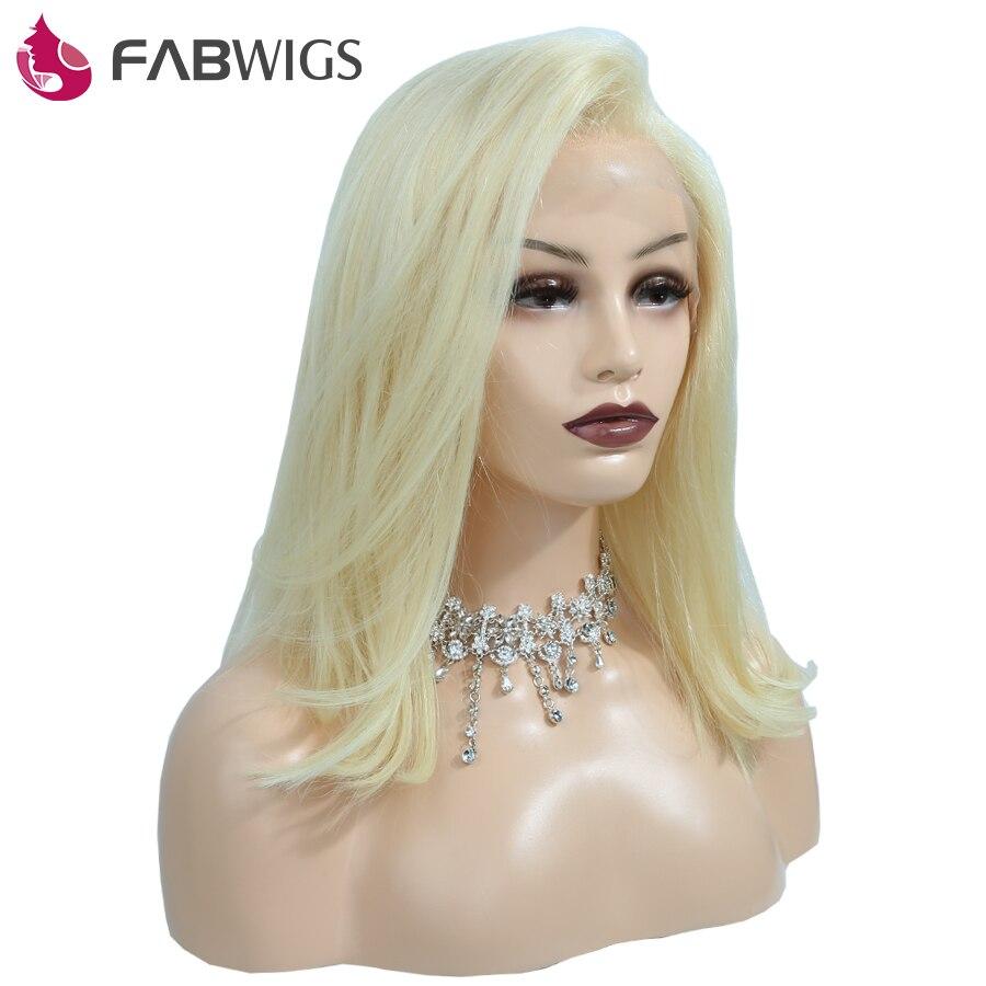 Fabwigs 180% Densité Avant de Lacet de Cheveux Humains Perruque avec Bébé cheveux #613 Blonde Court Bob Perruques de Cheveux Humains Européenne Remy cheveux