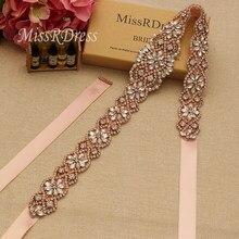 MissRDress 18inch Rhinestones Wedding Belt Rose Gold Crystal Bridal Belt  Pearls Wedding Sash For Bridal Accessories 245c3dc34af0