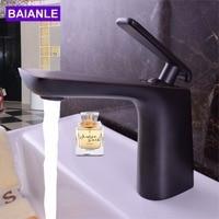 Decoration Black Basin Faucet Ceramic Valve Basin Mixer For Basin Sinks Brass Main Body And Zinc Alloy Handle Taps