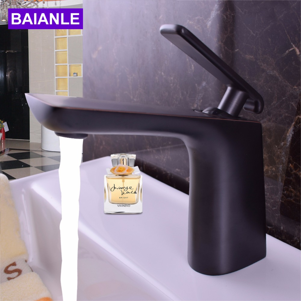 Decoration Black Basin Faucet Ceramic Valve Basin Mixer For Basin Sinks Brass Main Body And Zinc Alloy Handle Taps