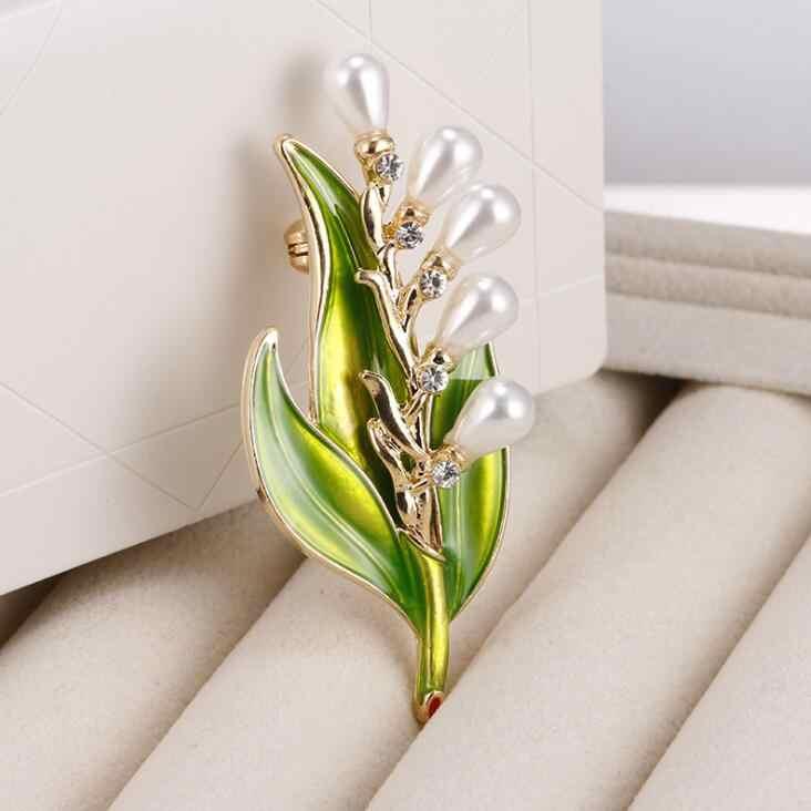 Kualitas High Fashion Imitasi Pearl Kristal Vintage Bridal Enamel Daun Bunga Bros Pin untuk Syal Gesper Pakaian Aksesoris