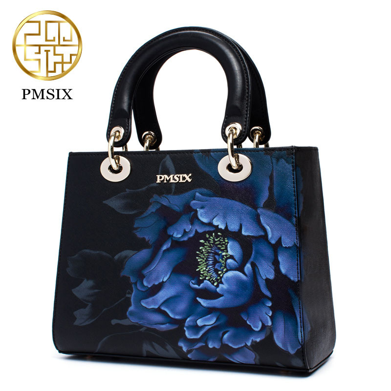 Pmsix 2017 Designer Handbags High Quality Split Leather Floral Pattern Vintage Female Tote Bag Women Handbag Shoulder Bags instantarts vintage skull handbags women high quality leather shoulder tote bag designer female casual messenger bags for ladies