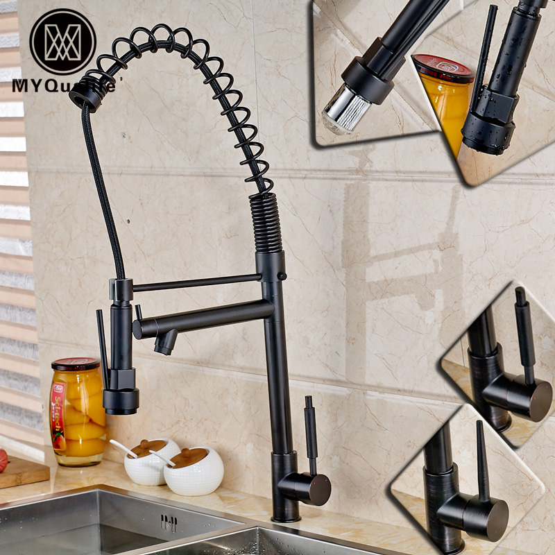 Oil Rubbed Bronze Single Handle Kitchen Spring Sink Mixer Faucet with Side Spout Deck Mounted Hot and Cold Water black oil rubbed bronze wall mounted toothbrush holder with two ceramic cups wba143