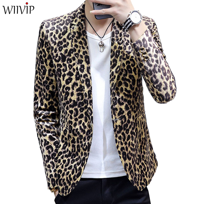 New Man Fashion Print Leopard Notched Collar Full Sleeve Smooth Soft Fabric Blazer Coat Male Spring Autumn Slim Outerwear 1122