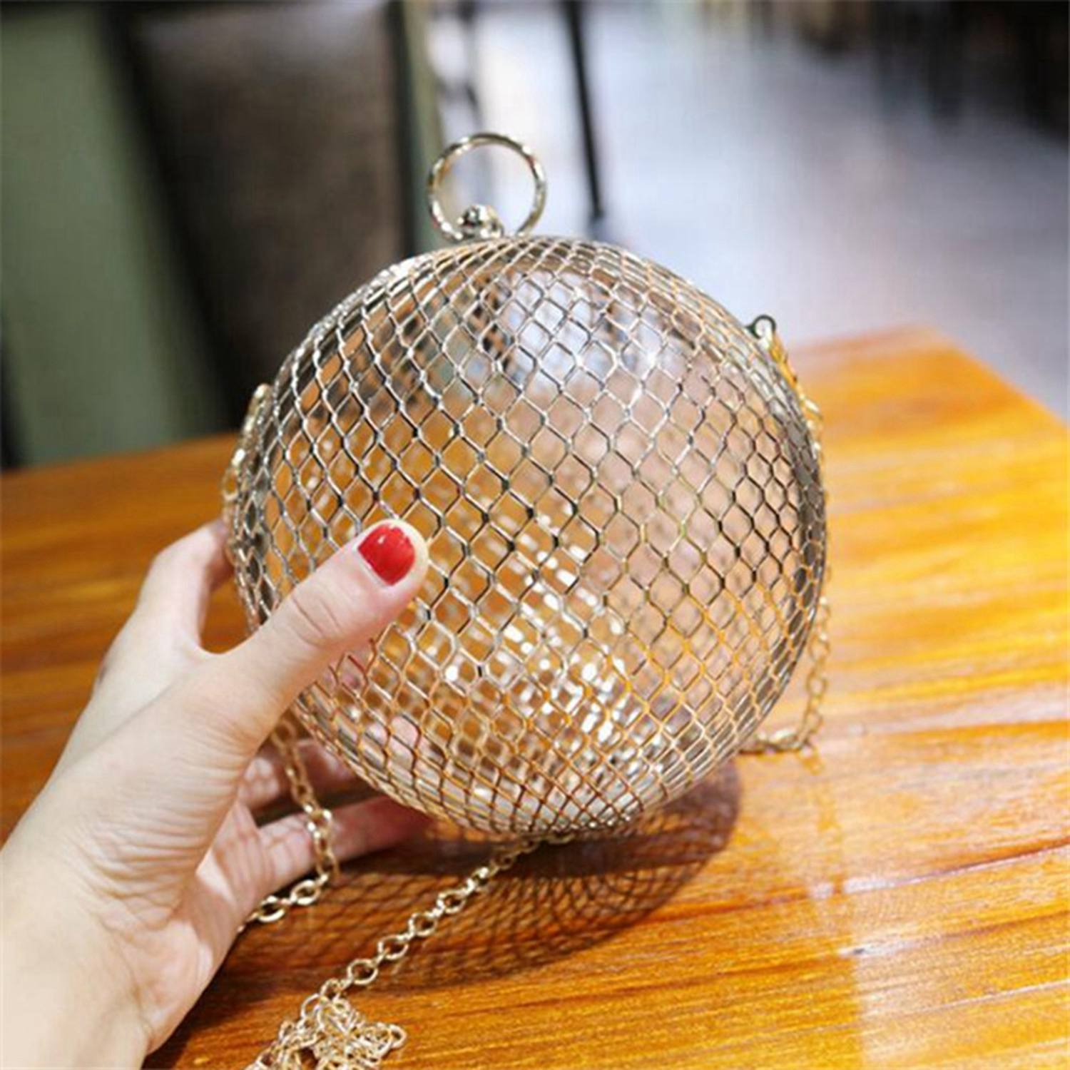 Hollow Metal Ball shoulder bag gold Cages Women Round Clutch Wedding Party Bag