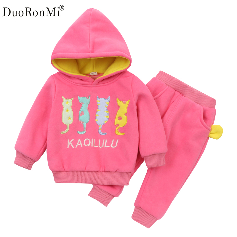 Tracksuit For Baby Girls Clothes Sports Suit For Girls Winter Clothing Set Girls Clothes Plus Velvet Cartoon Hoodies + Pants Set girls clothing set winter children cardigan suit baby boys cartoon sweater warm clothes kids plus velvet tracksuit leisure wear