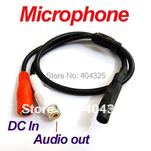 Mini Audio CCTV Microphone Mic 12V DC RCA output adapter to Security Camera System dc 6 12v cctv high sensitive microphone security camera rca audio mic dc power 20m cable for home security dvr system add 12v dc