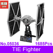 LEPIN 05036 1685Pcs Star Series Wars Tie Fighter Model Building Educational Blocks Bricks Compatible With 75095 Children Boy Toy