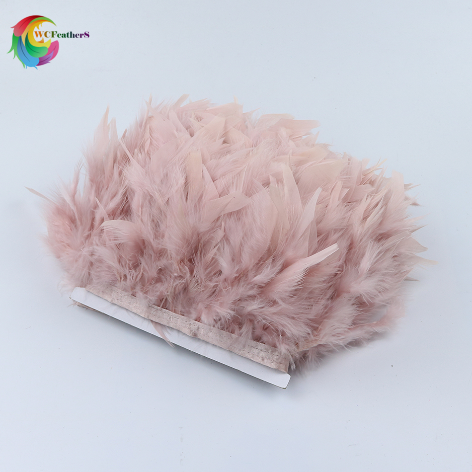 Wholesale 2yards Dyed Leather Pink Turkey Feather Fringe Trim 4-6inches Chandelle Marabou Feather Trimming Skirt Dress Trims