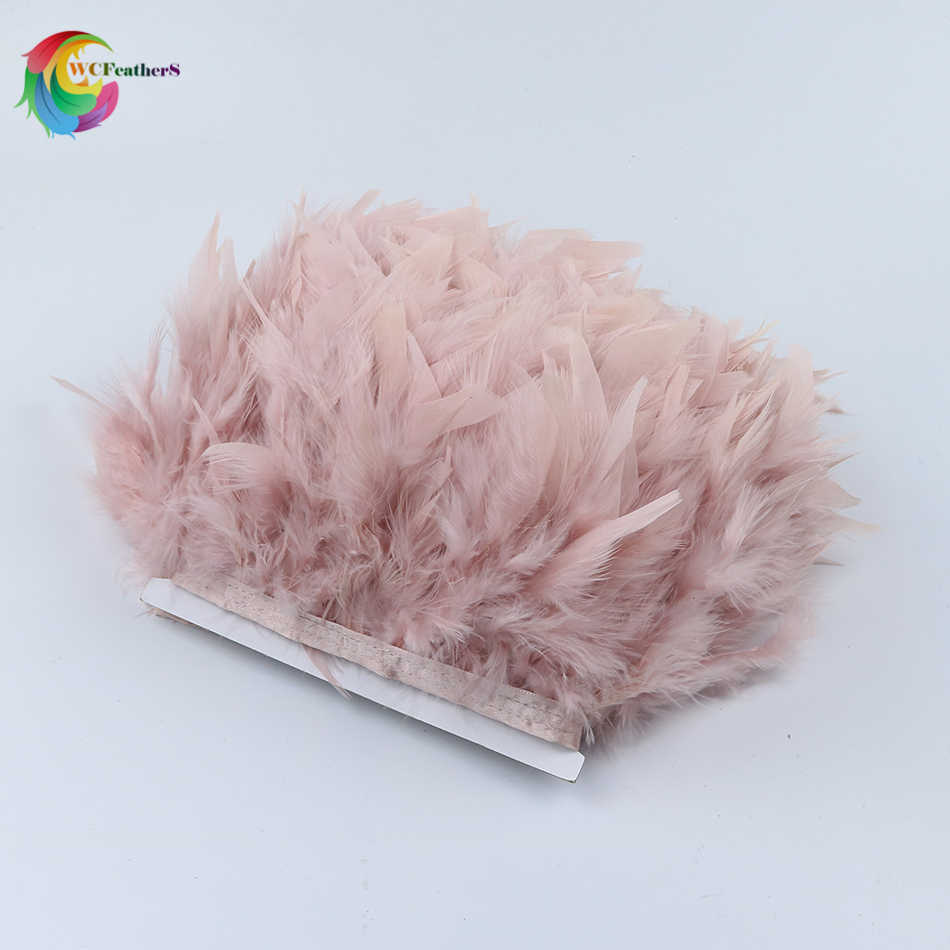Vente en gros 2yards teints en cuir rose dinde plume frange garniture 4-6 pouces Chandelle Marabou plume garniture jupe robe garnitures
