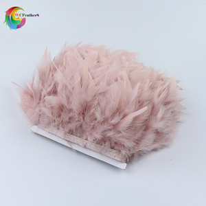 Wholesale 2yards Dyed Leather Pink Turkey Feather Fringe Trim 4-6inches Chandelle Marabou Feathers Skirt Dress Decoration Crafts(China)