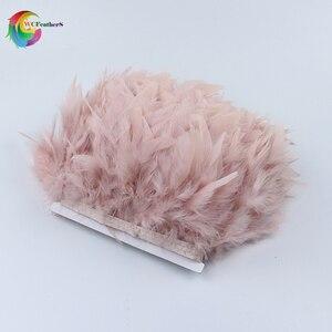Wholesale 2yards Dyed Leather Pink Turkey Feather Fringe Trim 4-6inches Chandelle Marabou Feathers Skirt Dress Decoration Crafts(China)