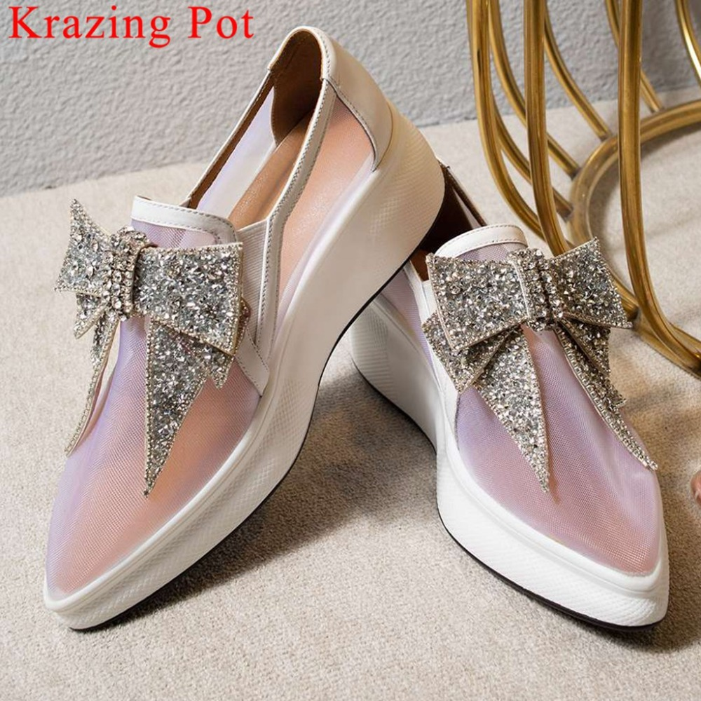 Krazing Pot Well-ventilated Pointed Toe Slip On Loafers Crystals Decoration Butterfly-knot Mesh Loafers Vulcanized Shoes L01