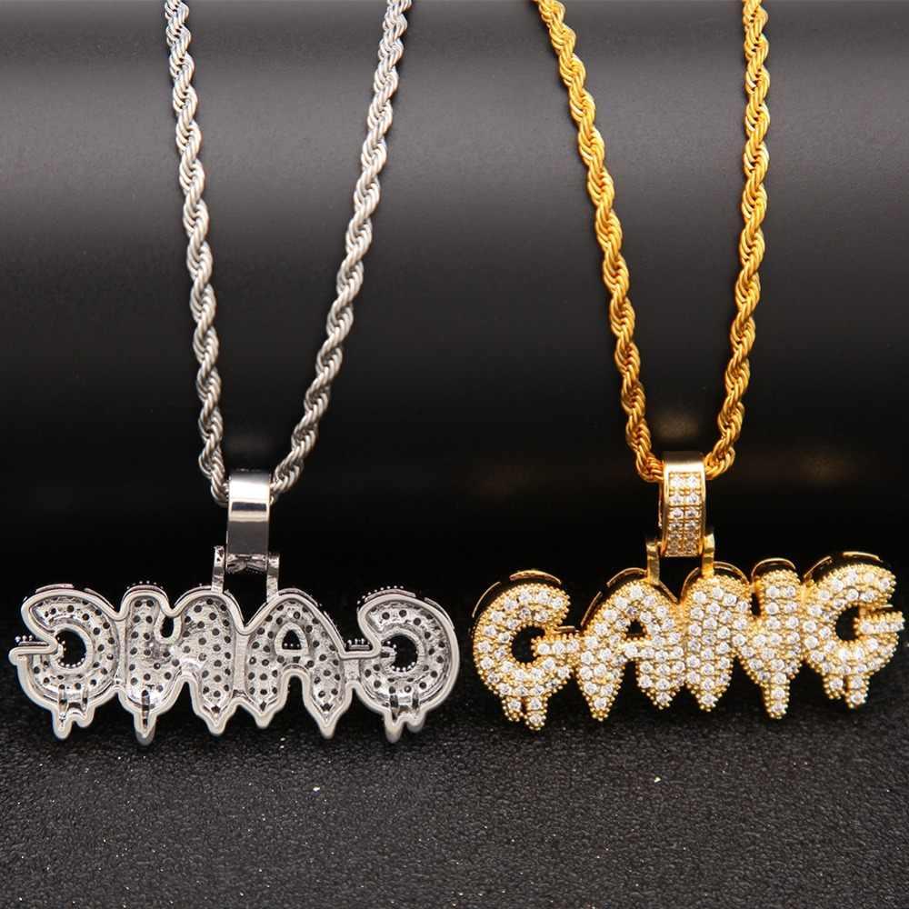 Uwin hip hop Bling Bling CZ biżuteria kapanie GANG Bubble początkowe litery naszyjnik złoty kolor srebrny łańcuch dla mężczyzn moda wisiorek