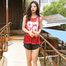 Women's 3PCS Letter Patchwork Yoga Sets Breathable Mesh Vest Bra Shorts Suits Loose Quick-Dry Sportswear for Running Fitness GYM