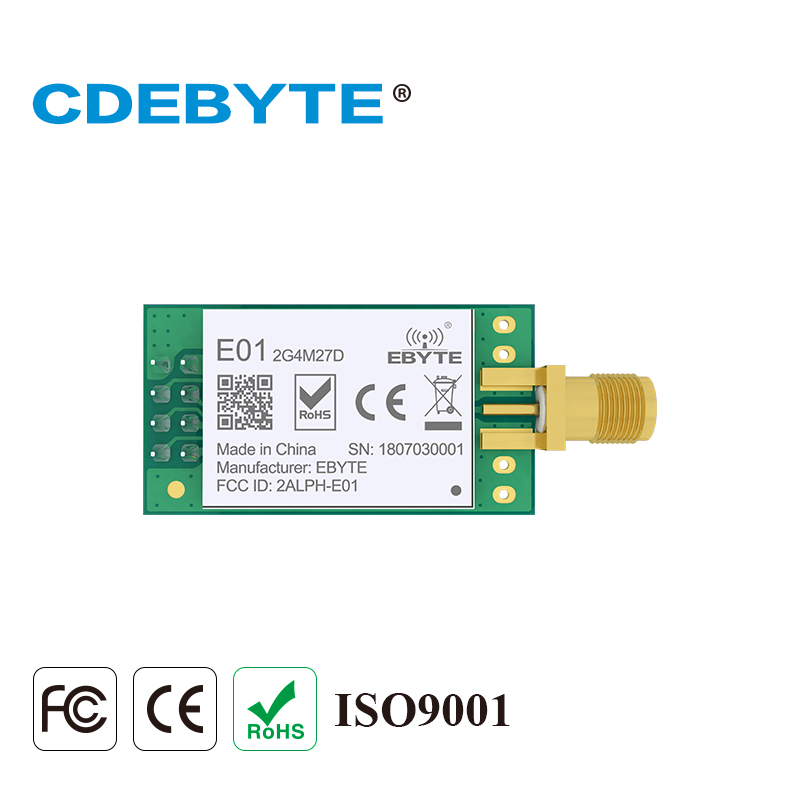 CDEBYTE E01-2G4M27D nRF24L01 PA LNA <font><b>2.4</b></font> <font><b>ghz</b></font> Long Range Transceiver 2.4GHz nRF24L01P Wireless rf <font><b>Transmitter</b></font> and Receiver image