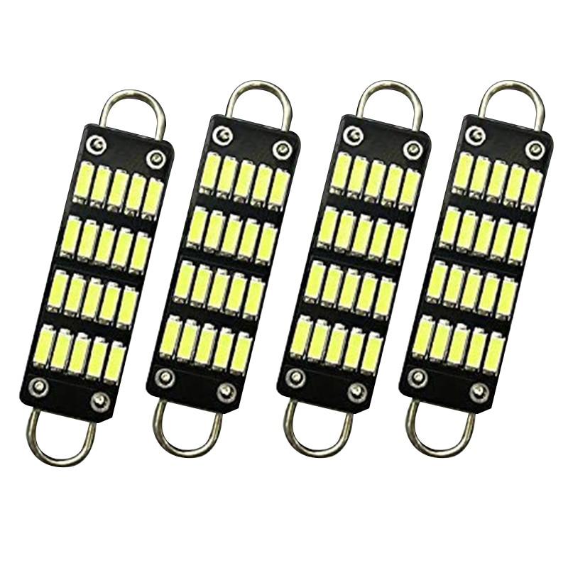 Лампы 44 мм Яркий белый гирлянда светодиодных ламп, 20 Smd жёлтый декоративный петля 1,73 дюймов укрыты внутренной сводной карта светодиодные фонари 561 562 567 564, набор из 4 шт - Цвет: Black