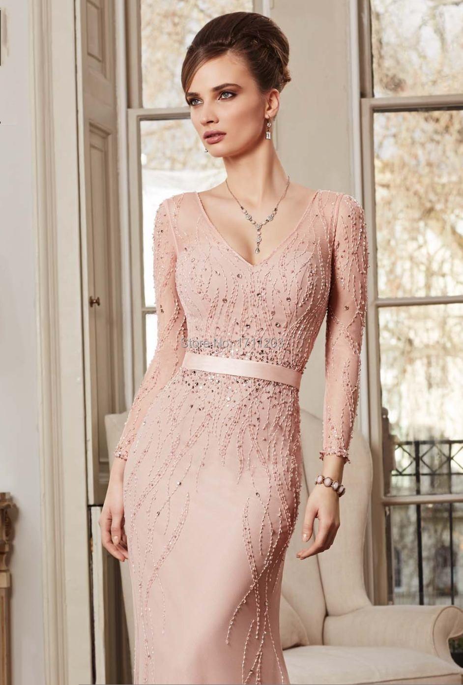 Vestido largo de noche rosa palo – Vestidos de noche elegantes para ti
