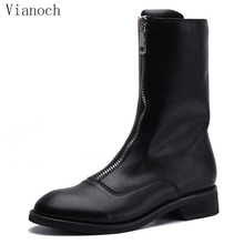 Fashion New Mid Calf Boots Women Casual Genuine Leather Flats Winter Snow Boots Shoe Fur Keep Warm wo1808179 2015 men s winter mid calf casual boots fashion men s boots in genuine leather martin boots keep warm in cold day water proof