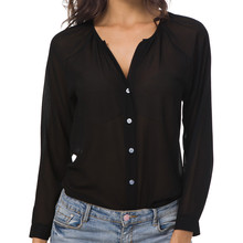 43b4c6a93 أزياء النساء قميص الخريف الشتاء طويلة الأكمام الصيف المرأة ياقات كم طويل زر الشيفون  عارضة قميص قمم