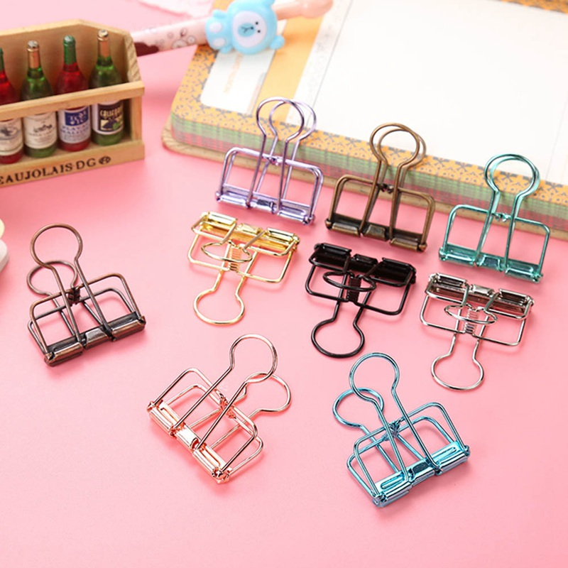 3 Size Multi Color Hollowed Out Design Binder Clip For Office School Paper Organizer Stationery Supply Decorative Metal Clips