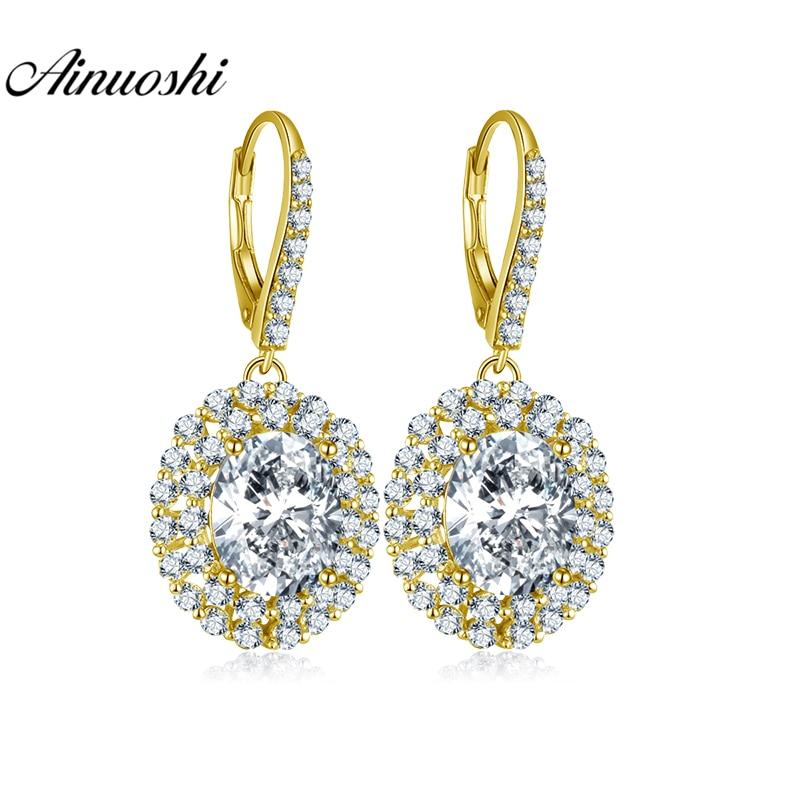 AINUOSHI 10K Solid Yellow Gold Drop Earring Women Jewelry 8 Carat Pear Cut SONA Diamond Click Back Earring Double Halo Earring