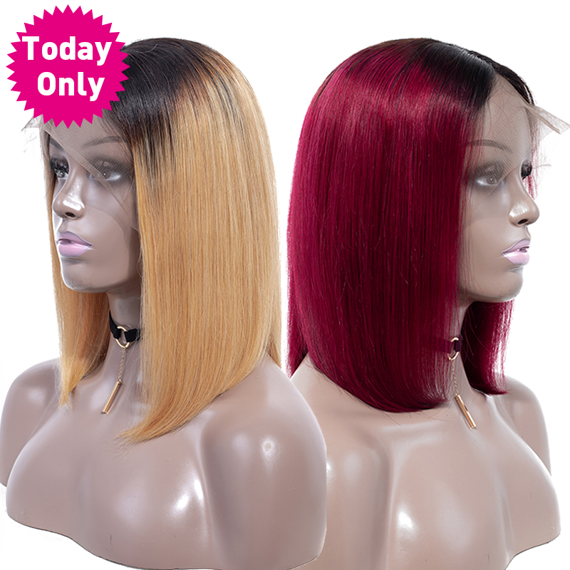 TODAY ONLY Ombre Brazilian Straight Hair Bob Lace Frontal Wigs Short Human Hair Wigs For Black