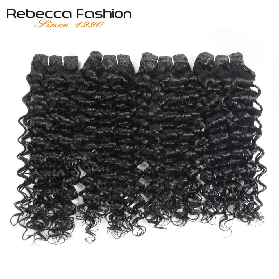 Rebecca малазийский Джерри вьющиеся волнистые волосы 4 пучка 190 г/упак. не Реми вьющиеся человеческие волосы пучки 4 цвета #1 # 1B #2 #4