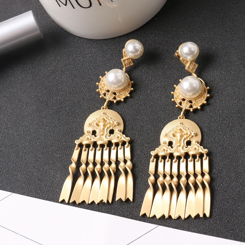Europe and the United States exaggerated metal chain tassel earrings South Korea dumb pearl hollow earrings ladies 692