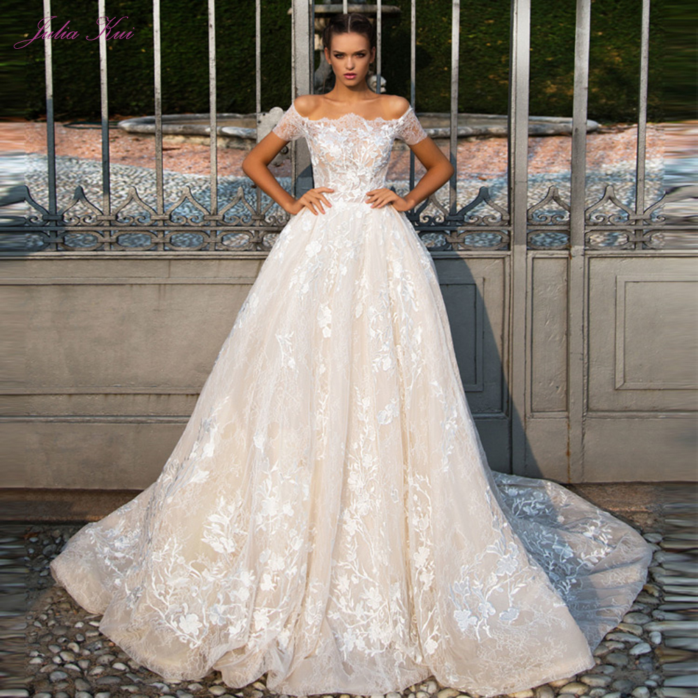 Beautiful Embroidery Appliques Boat Neck Wedding Dress Chic Off The Shoulder A Line Court Train With
