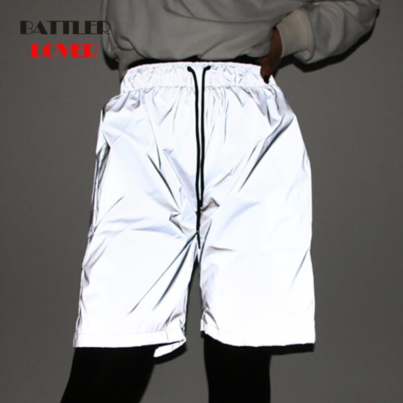 2019 Summer Fashion Nightwear Men Shorts Women Night Light Reflective Shorts Hip Hop Shiny Casual Blink Short Pants For Couples