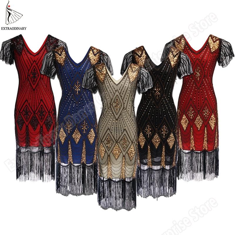 8eab3d7a6f45 AliExpress Great Gatsby Dress Women 1920 s Vintage Sequin Art Deco Double Flapper  Dresses V Neck Party