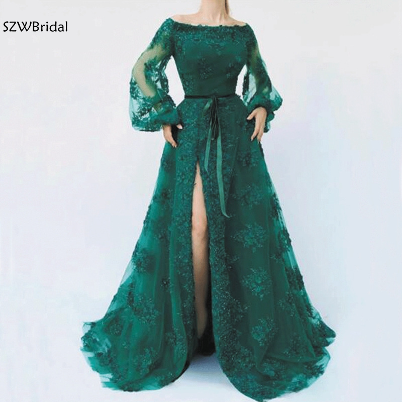 New Arrival Green Lace   evening     dresses   2019 Long sleeve Arabic   evening     dress   Sexy Slit   evening   gowns dubai   evening     dress