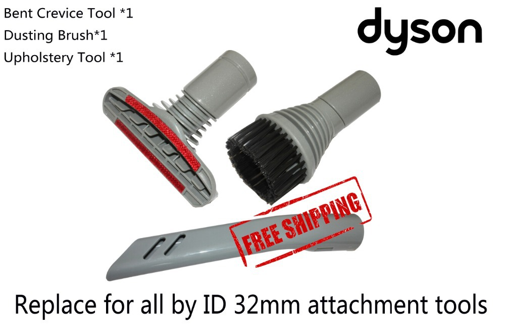 3-Piece  Attachment Kit Nozzle Brush Upholstery cleaning  Tool for Dyson DC01 DC02  DC03  DC04  DC05 DC07 DC14 vacuum cleaning kit attachement kit dusting dusting brush nozzle crevices tool upholster tool for 32mm