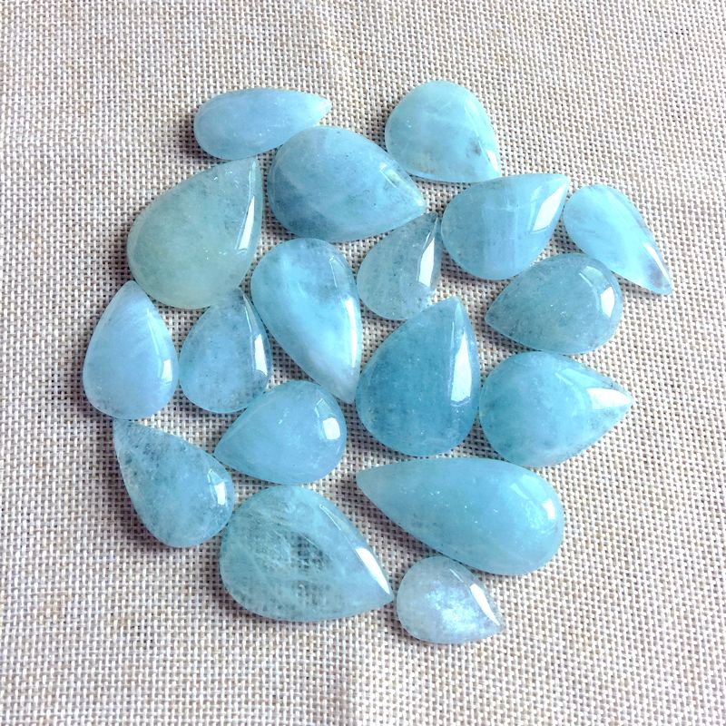 New Arrival Natural Aquamarines Drop Beads Pendant Cabochons Blue Color Real Stone 15-30 mm A Quality