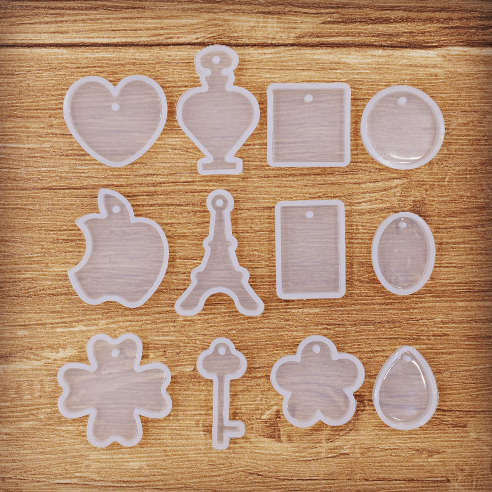 SNASAN Neclace Pendant With Hole Resin Silicone Mould Handmade Tool  Epoxy Resin Molds Square Tower Round Key Clover