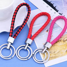 PU Leather Braided Woven Rope Double Rings Fit DIY bag Pendant Keychain Holder Car Key ring Men Women Key chains Jewelry(China)