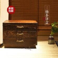 Новый доставка! Три твердой древесины чай торт коробка / записать павлония многослойные чай торт коробки / чай для хранения