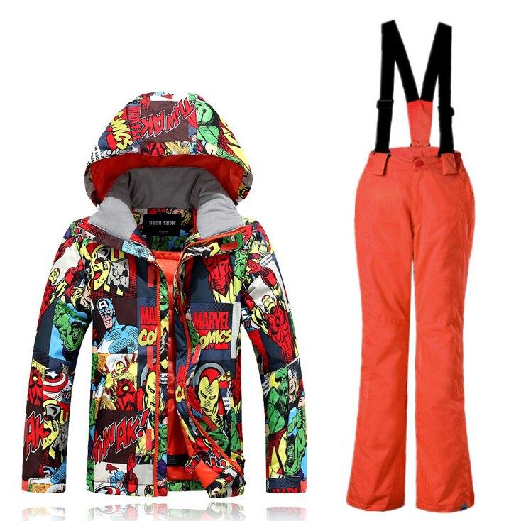 -35 degrés enfants Ski costume GSOU neige marque coupe-vent imperméable veste de Ski pantalon garçons filles Super chaud Snowboard costume épaissir nouveau - 2