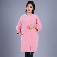 Yiyyunshu импортное двустороннее меховое пальто из натурального Мериносовой овцы, меховая куртка с круглым вырезом, двухсторонняя женская зимняя куртка из натурального меха